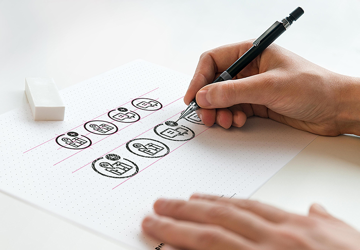 Icon design draft sketches for Uk Power Network